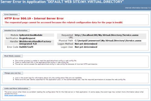 screenshot of 500.19 error