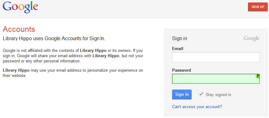 standard Google login page