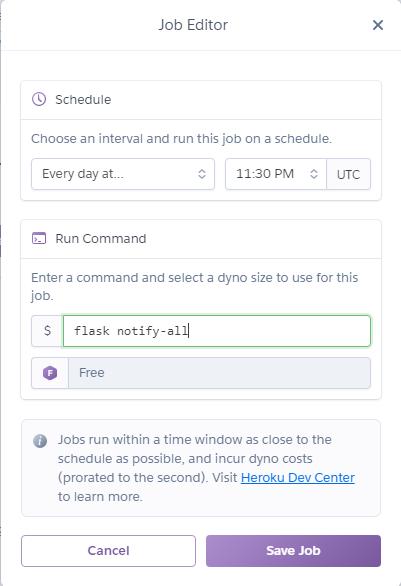 Screenshot of configuring a job to run daily at 11:30 PM