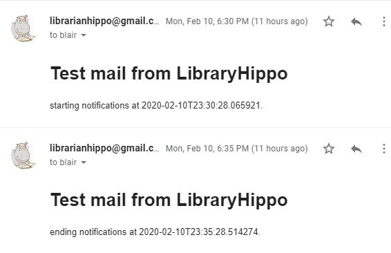 Screenshot of scheduled e-mails