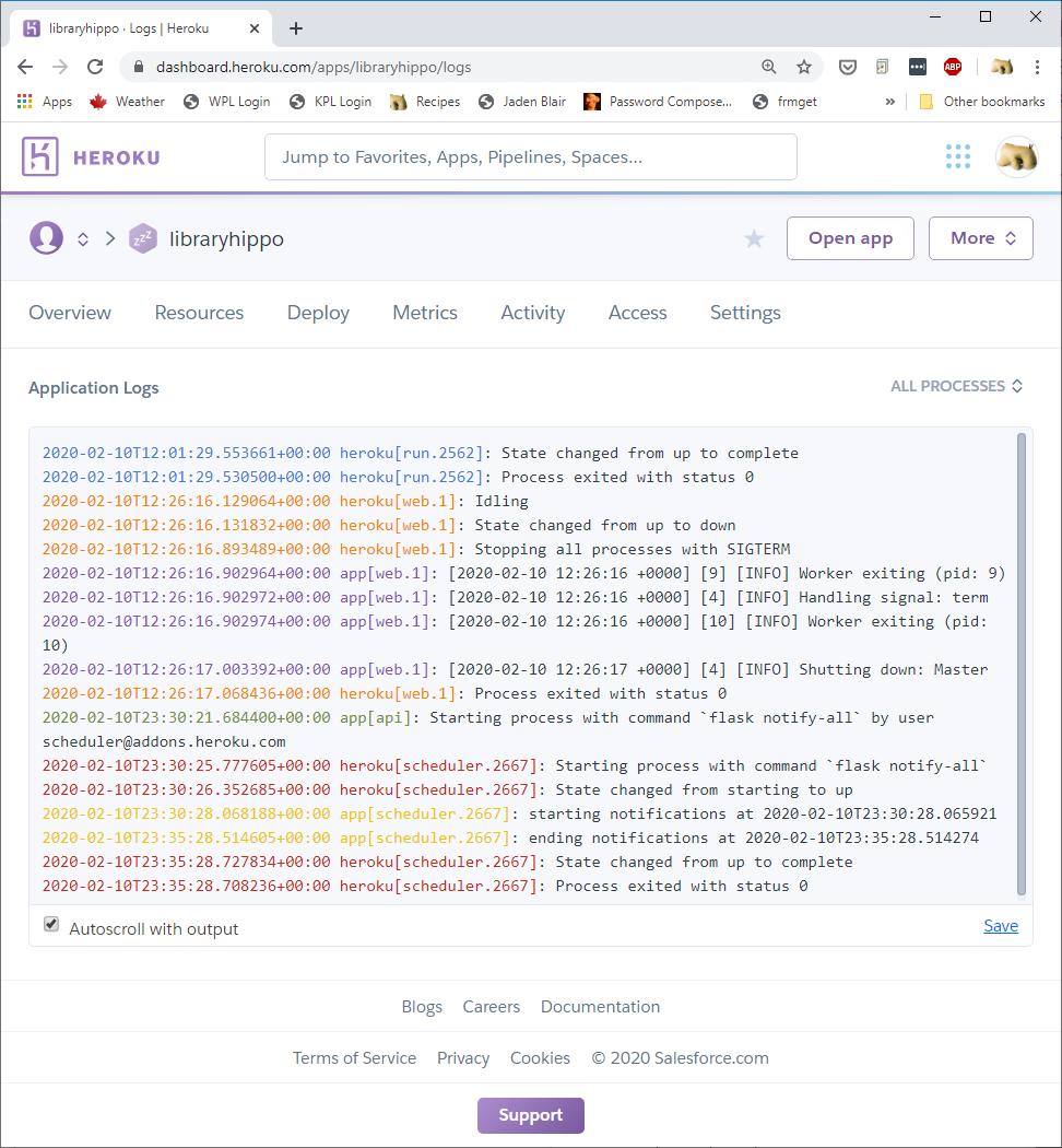 Screenshot of Heroku log of scheduled e-mail task run
