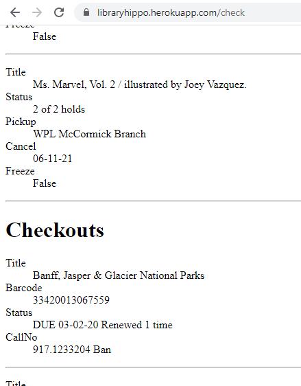 screenshot of card check results on Heroku