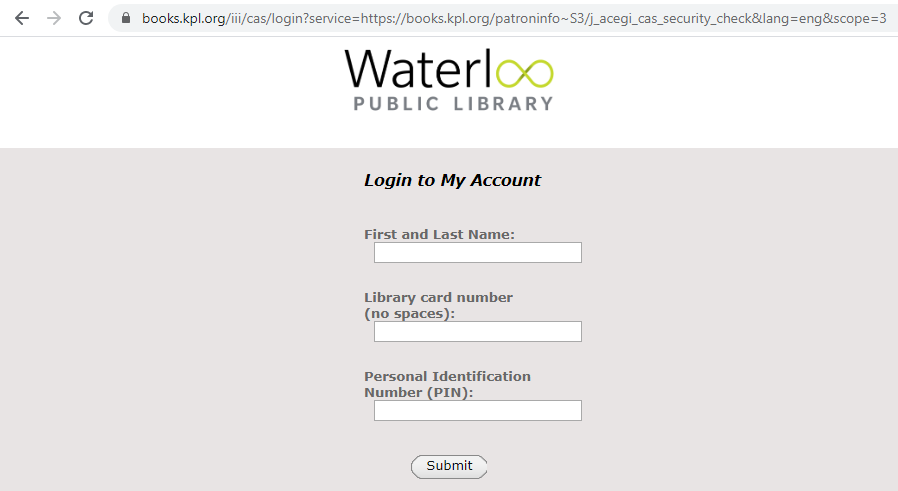screenshot of Waterloo Public Library patron login form showing 3 text fields and a submit button