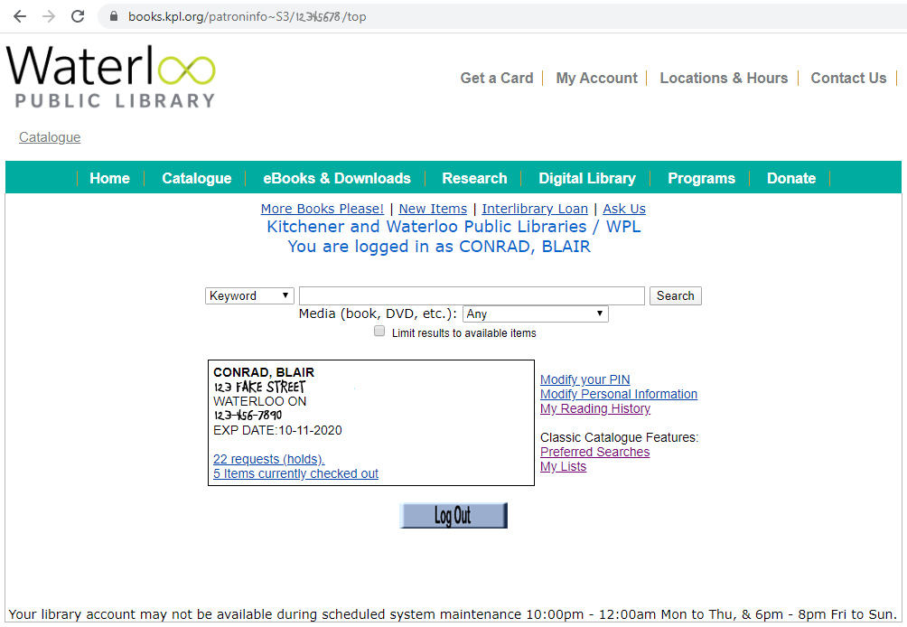 screenshot of Waterloo Public Library patron summary