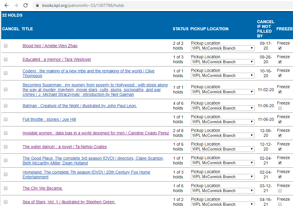 screenshot of the holds page, showing several held items