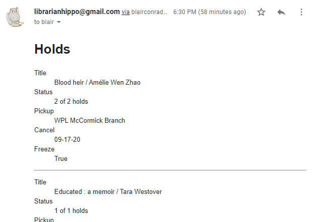 screenshot of notification e-mail sent from Heroku using stored card status