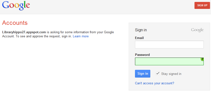 federated Google login page