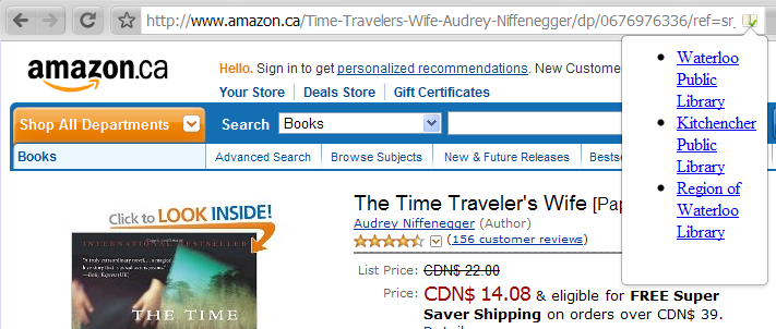 Library Lookup finds The Time Traveler's Wife